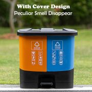 double bin plastic pedal classified trash can 20L 30L 40l double dustbin